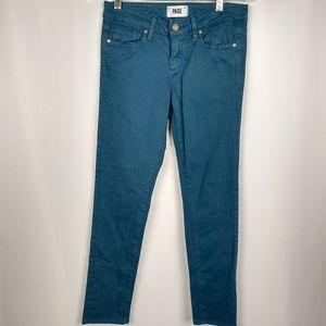 Paige 26 Skyline Skinny Teal Blue Jeans